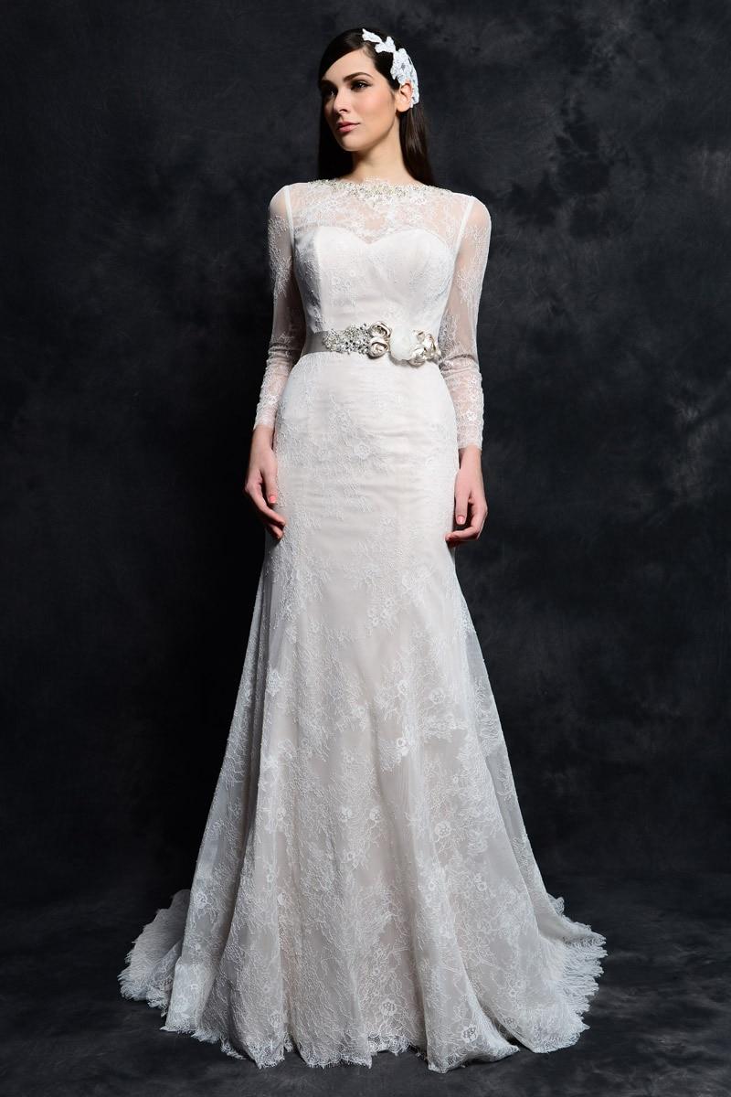 White long high neck lace full sleeve wedding dresses 2014 for Full sleeve lace wedding dress