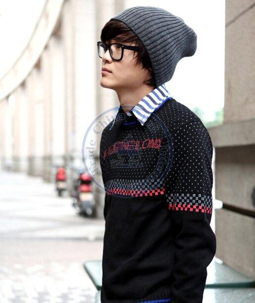 men's ladies' fashion strip knitted hat Beanies Cap Autumn Spring Winter lover unisex multi color option CN post fashion winter hat solid color woolen flat top cap unisex autumn and winter cap w005