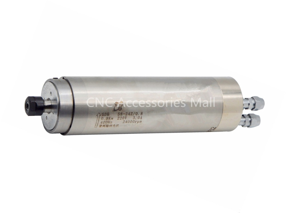 Água de refrigeração do eixo do motor 800 w 24000 rpm D58mm ER11 AC220V para CNC gravura em metal e corte