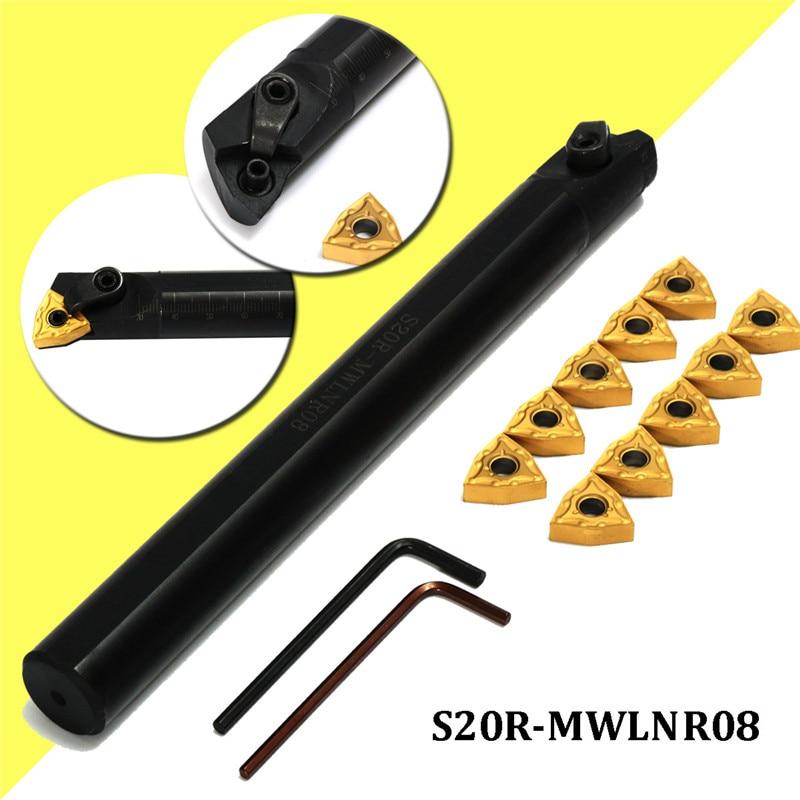 20x200mm S20R-MWLNR08 Lathe Turning Tool Boring Bar Holder + 10X WNMG0804 Insert Turning Tool20x200mm S20R-MWLNR08 Lathe Turning Tool Boring Bar Holder + 10X WNMG0804 Insert Turning Tool