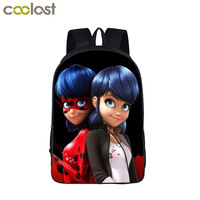 Anime Miraculous Ladybug School Backpack For Teenage Cat Noir Adrien Marinette Boys Girls Bag Children School