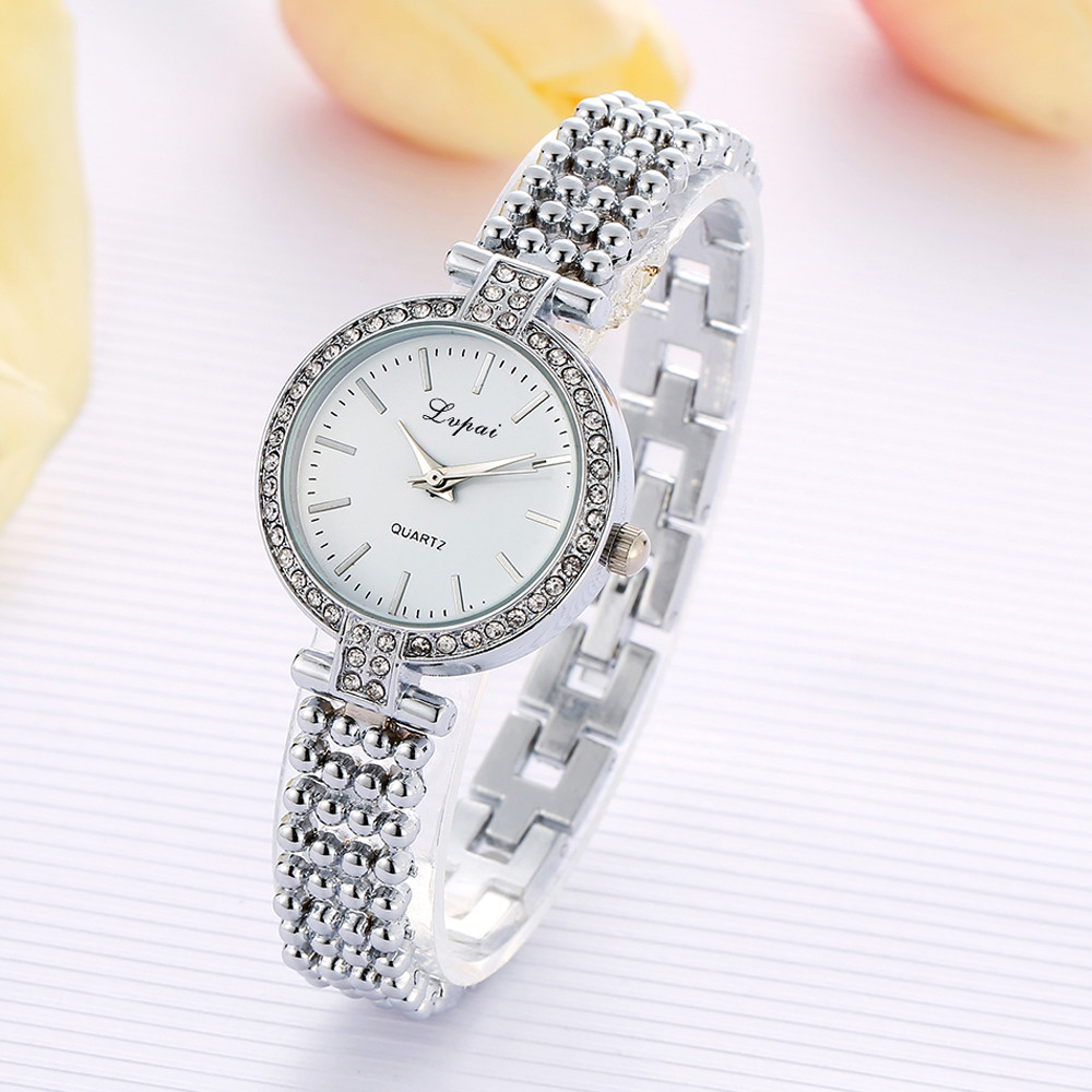 Fashion Women's Watches 2017 Relogio feminino  Quartz Watch Women Ladies Silver Gold Stainless Steel Rhinestone #0804