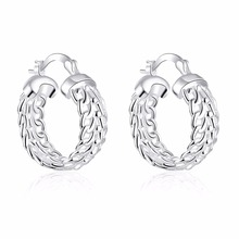 Best selling new style 925 sterling silver earrings fashion circular hollow accessories ladies silver jewelry