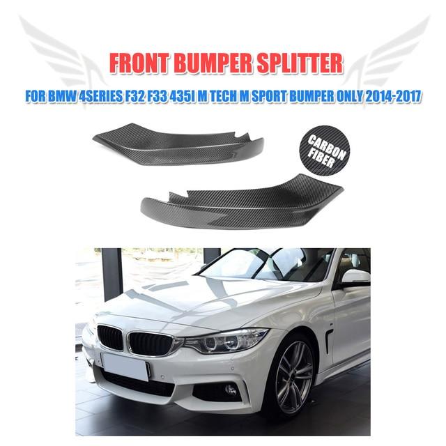 2 teile/satz Carbon Vorder Splitter Lip Klappen für BMW 4 Serie F32 F33 435i M Tech M Sport Stoßstange nur 2014-2017