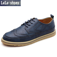 High Quality Men Oxfords Shoes British Style Genuine Leather Shoe Brown Brogue Shoes Lace-Up Bullock Men's Flats Comfortable