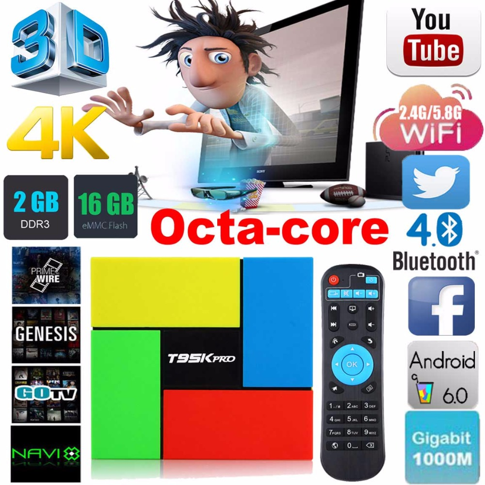 T95K pro 2GB 16GB Amlogic S912 Octa Core Android 6.0 TV BOX 2.4G/5GHz Dual WiFi 3D 4K H.265 Media Player Smart tv box PK X96 X92 zidoo x6 pro 4k 2k h 265 smart android 5 1 tv box rk3368 octa core 2gb 16gb 1000m lan dual wifi kodi bluetooth 3d media player