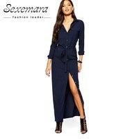Women 2017 Women Summer Long Sleeve Floor Length Shirt Pocket Vestidos De Fiesta Party Maxi Dress