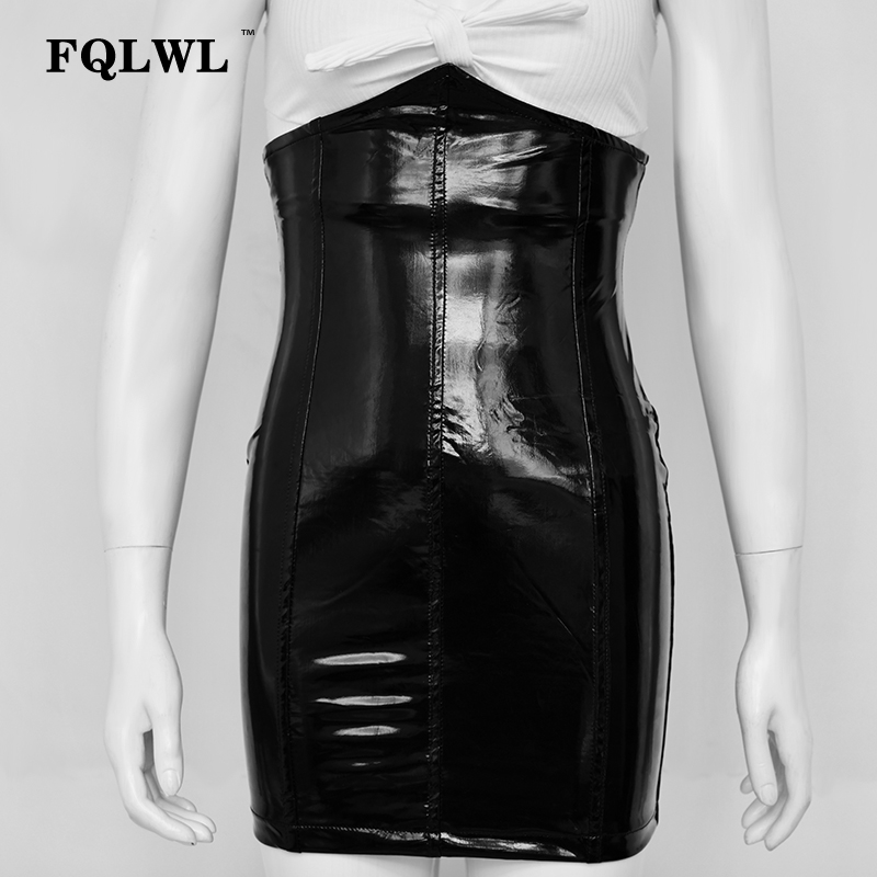 HTB1akueXsfrK1Rjy1Xdq6yemFXaL - FQLWL Faxu Latex Pu Leather Skirt For Woman Zipper Black/High Waisted/Pencil Skirts Womens Autumn Wrap Sexy Mini Skirt Female