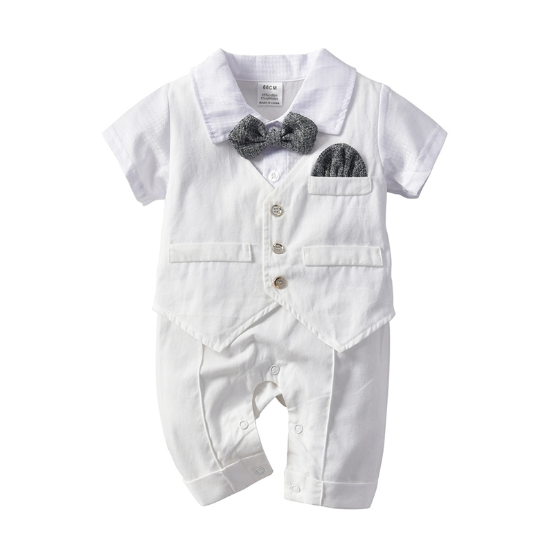 Newborn Infantil Boy Baby Summer Romper Clothes Gentleman Baptism Birthday Party 100% Cotton Boy Clothing Tie+Romper 2P Costume