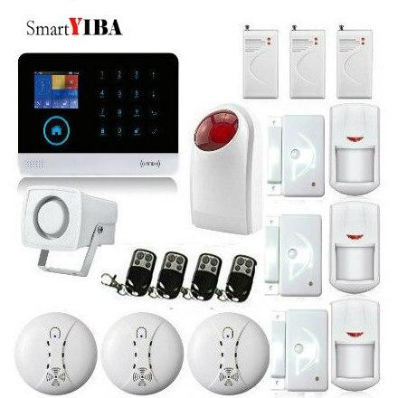 SmartYIBA WiFi 3G WCDMA Alarm System Smoke Fire Sensor Smart Home Arm Disarm Alarm system APP Remote Control Vibration Detector