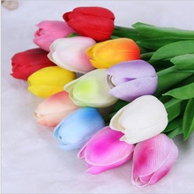 30pcs/lot PU Mini Tulip Fake Flower Real Touch Artificial Bouquet Silk Flowers Tulips For Home Decoration DIY Wedding Party