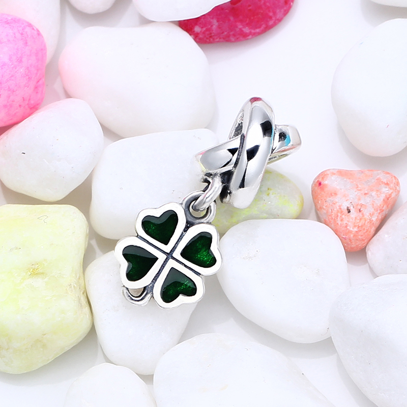 New 100% 925 Sterling Silver Fit Original Pandora Bracelet Four Leaf Clover Charm DIY Charms Beads for Jewelry Making Gift