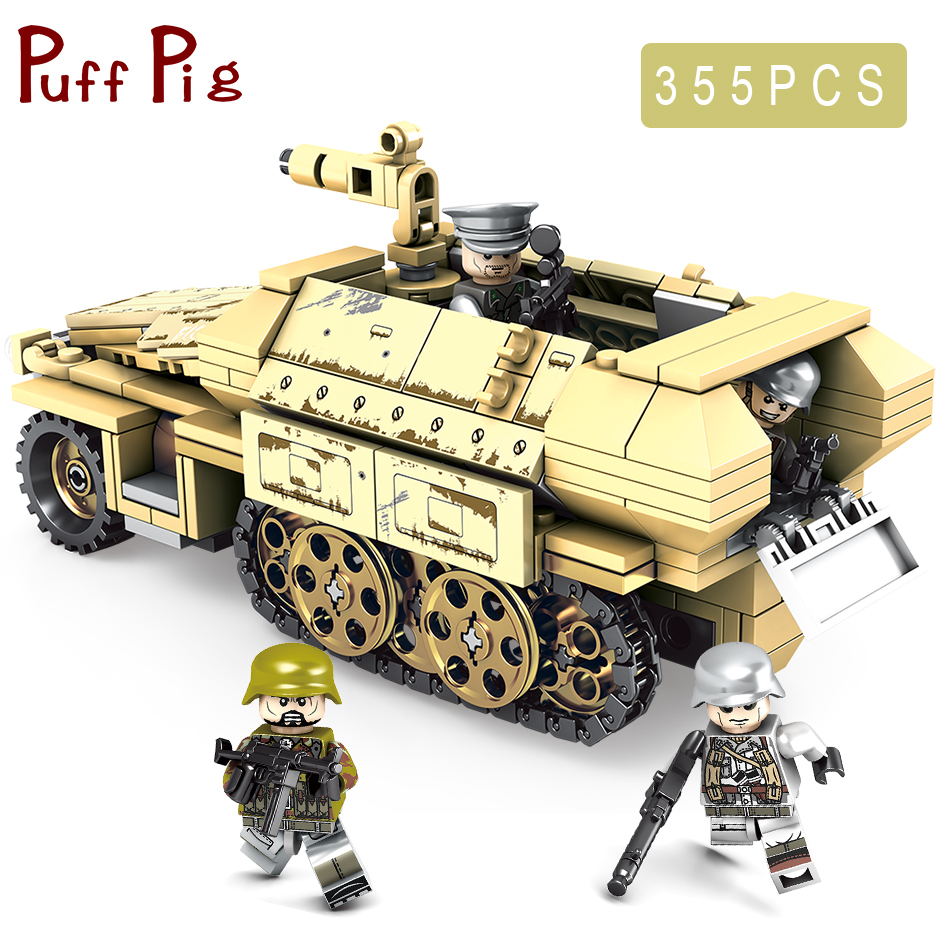 355PCS legorreta Military Half Track Armored Vehicle Truck Soldier Figures Building Blocks Juguetes Army Tank Model Kids Toys