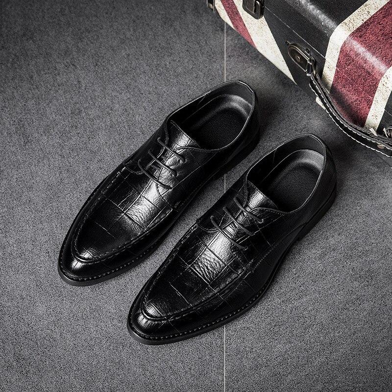 2018 Ltalian Luxury Designer Formal Mens Dress Shoes Genuine Leather Black Basic Flats For Men Wedding Office plus size Oxford