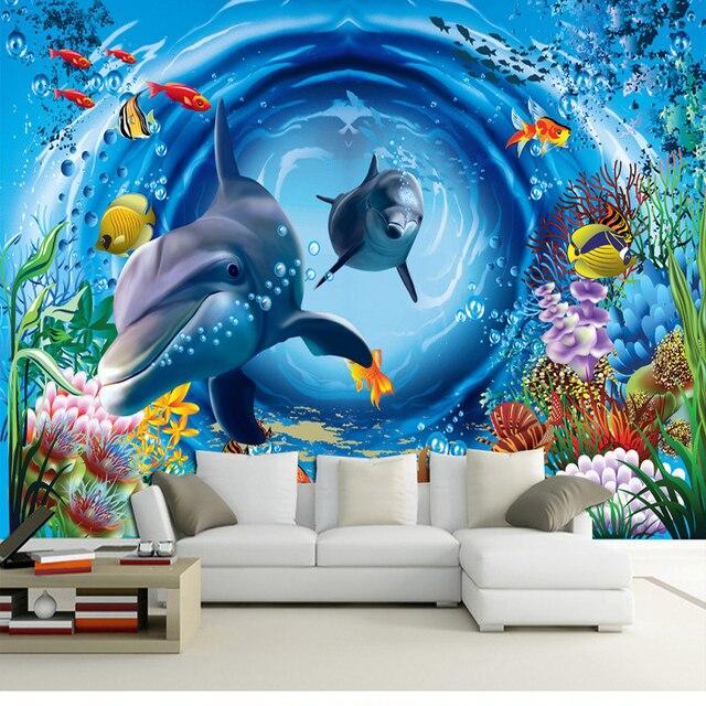 Benutzerdefinierte 3d Wandbild 3d Ozean Tapete Restaurant Thema