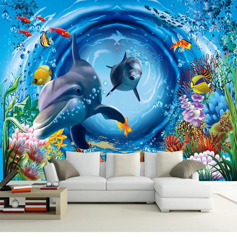 Custom 3d mural 3d ocean wallpaper restaurant theme hotel for Aquarium mural wallpaper