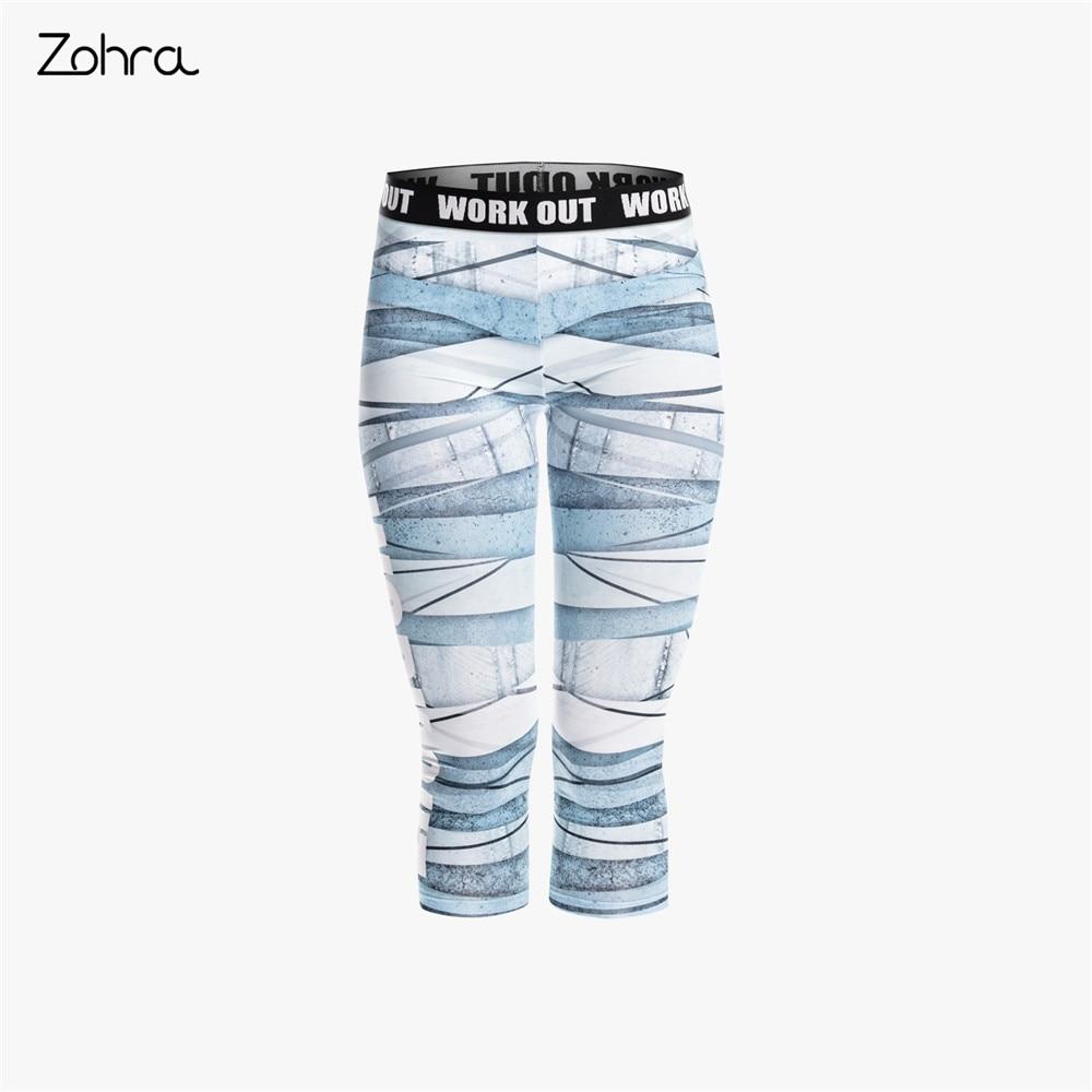 Zohra New Arrival Women Capri   Leggings   Blue Bandage Printing Fashion Mid-Calf 3/4 Fitness Movement Leggins Capri Pants