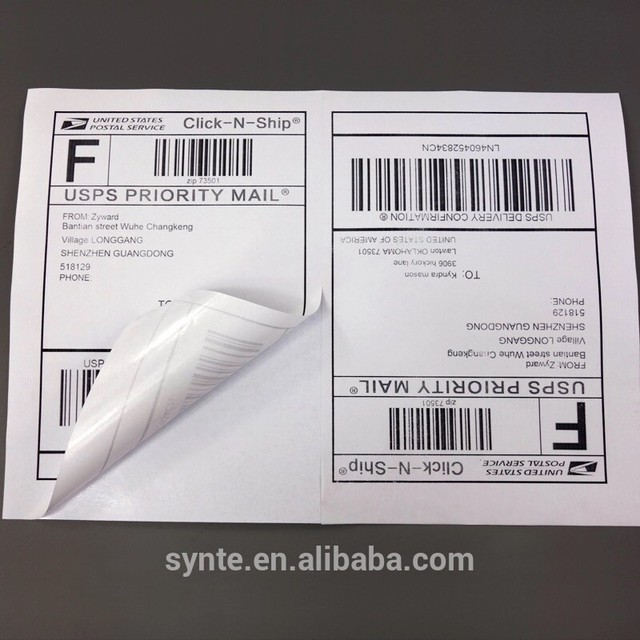 Half Sheet Shipping Address Labels For Laser Ink Jet Self