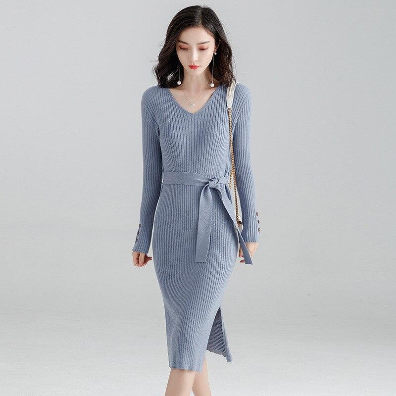 Mode américain Forme Manches Robe bleu En De Avec Beige Longues Collier Innasofan hiver Féminine Élégante Euro Tricoté V kaki Ceinture Automne Blue gray H8wYn6ax
