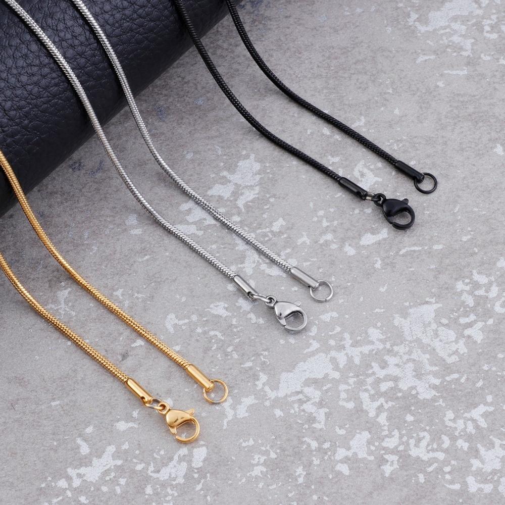 2mm de largura de aço inoxidável cobra corrente feminina ouro/prata/preto moda colares para mulheres meninas festa jóias presente do amigo