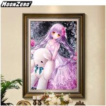 Diy Diamond Painting Inlaid Diamond Cartoon Girl Picture Square or Round Diamond Full Diamond Cross Embroidery Decor WYZ18816