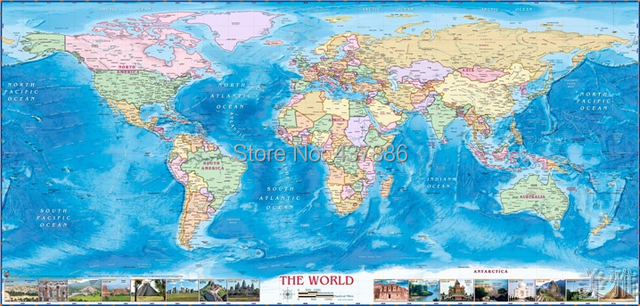 100*48cm real Cloth map of the world ocean wallpaper sofa background