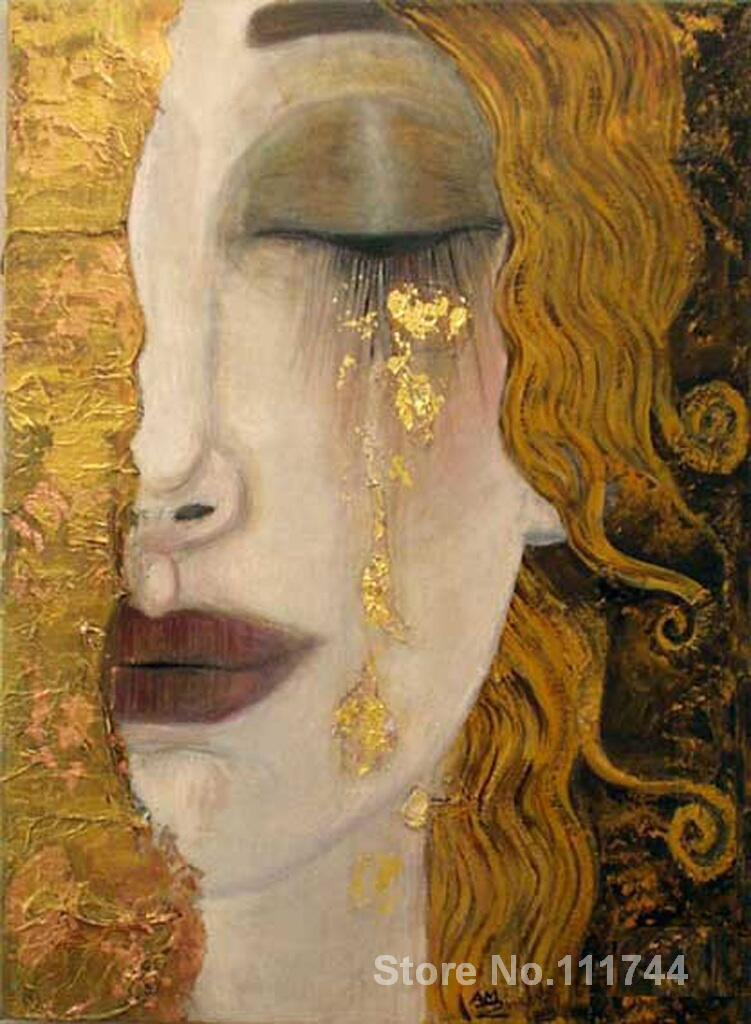 Portrait of woman Modern art Golden tears Gustav Klimt oil painting replicas High quality Hand painted