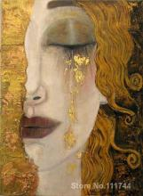 Portrait of woman, Modern art,Golden tears-Gustav Klimt oil painting replicas,High quality,Hand-painted