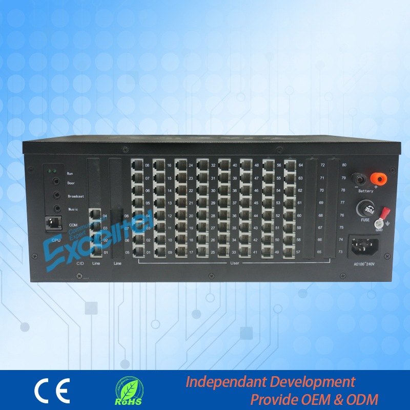 64 Extensions PABX PBX Intercom System For Hotel  TP880-464
