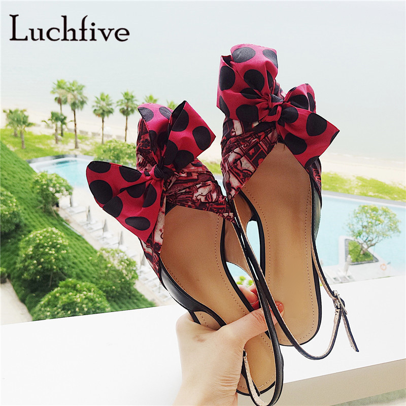 Big bowtie women sandals genuine leather kitten heels buckle slingbacks pointed toe red female shoes shallow sandalias mujer футболка мужская abercrombie
