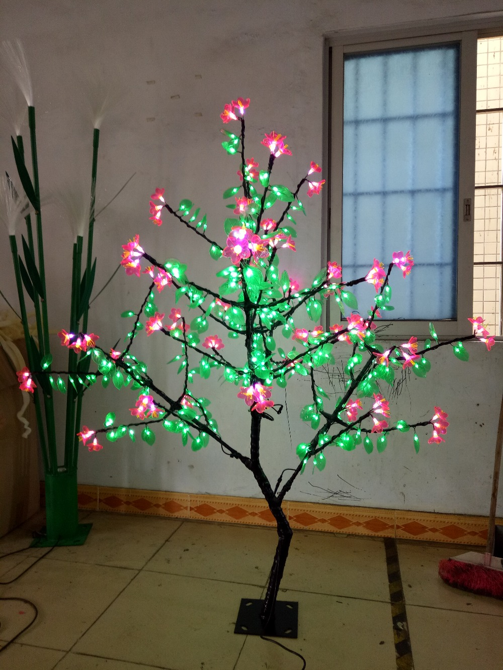 5ft 480 LEDs Pink Flower+Green Leaf Cherry Blossom Tree Christmas Wedding party holiday new year Light home garden decor все цены