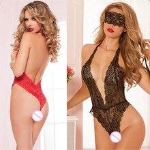 2017 Sexy lingerie hot Red black rose lace open bra teddy lingerie deep v neck lenceria