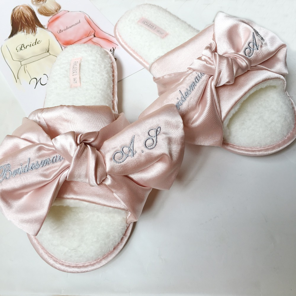 c4b036fc950 1set lot Custom Embroidery logo Satin Robes slippers wedding bridal party  gift personalized gifts for bridesmaids-in Party Favors from Home   Garden  on ...