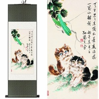 Traditional Chinese Silk watercolor ink Insects moe cat kitten puss animal art canvas wall damask picture framed scroll painting