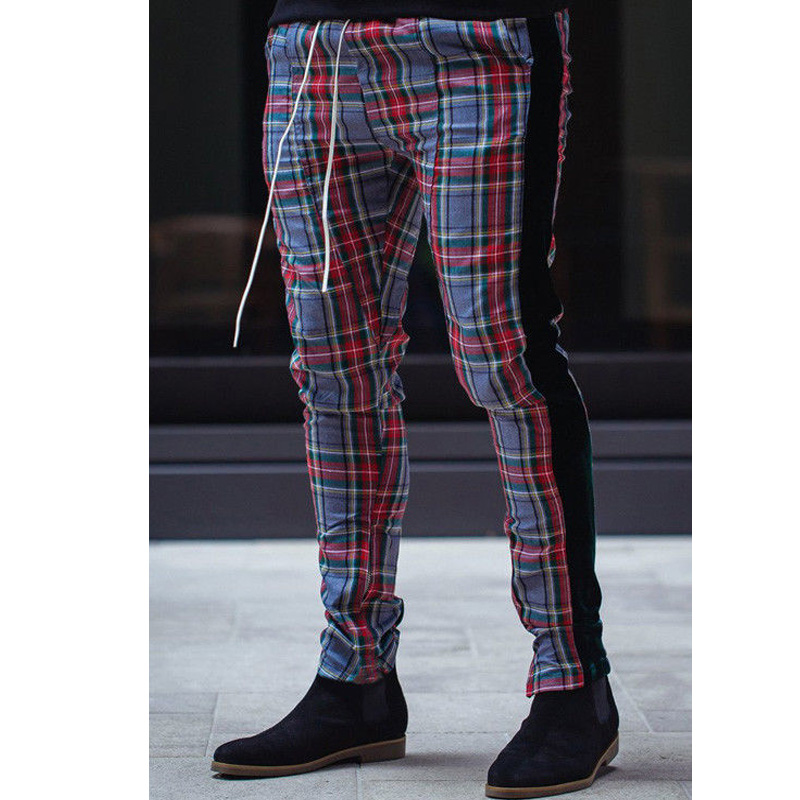 Gym Mens Trousers Plaid Tracksuit Bottoms Skinny Joggers Sweat Track Pant 2019 Summer Lace Up Slim High Waist Sweatpants Hot