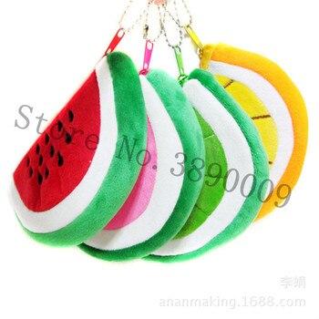 FREE SHIPPING New 14.5cm cartoon coin purse key ring watermelon dot wallet keychain fruit keychain plush toy key ring