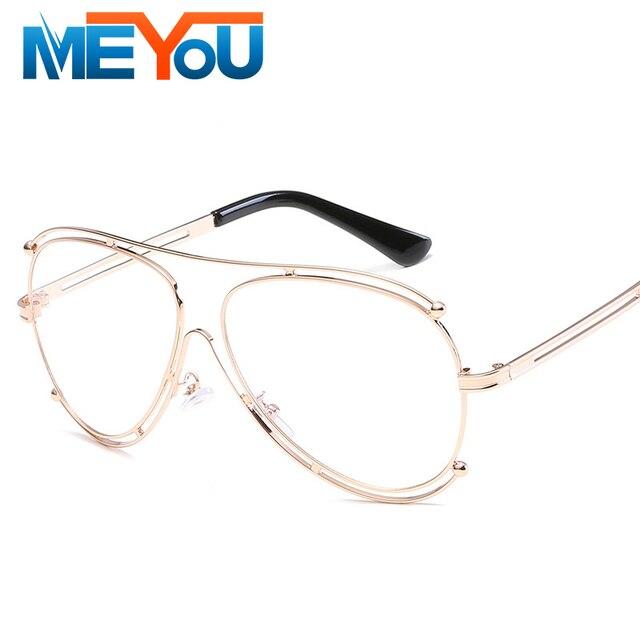 59ede96c935e5 MEYOU Aleación Gafas Lente Transparente Moda Diseñador de la Marca  Transparente Gafas Mujeres Espejo gafas de