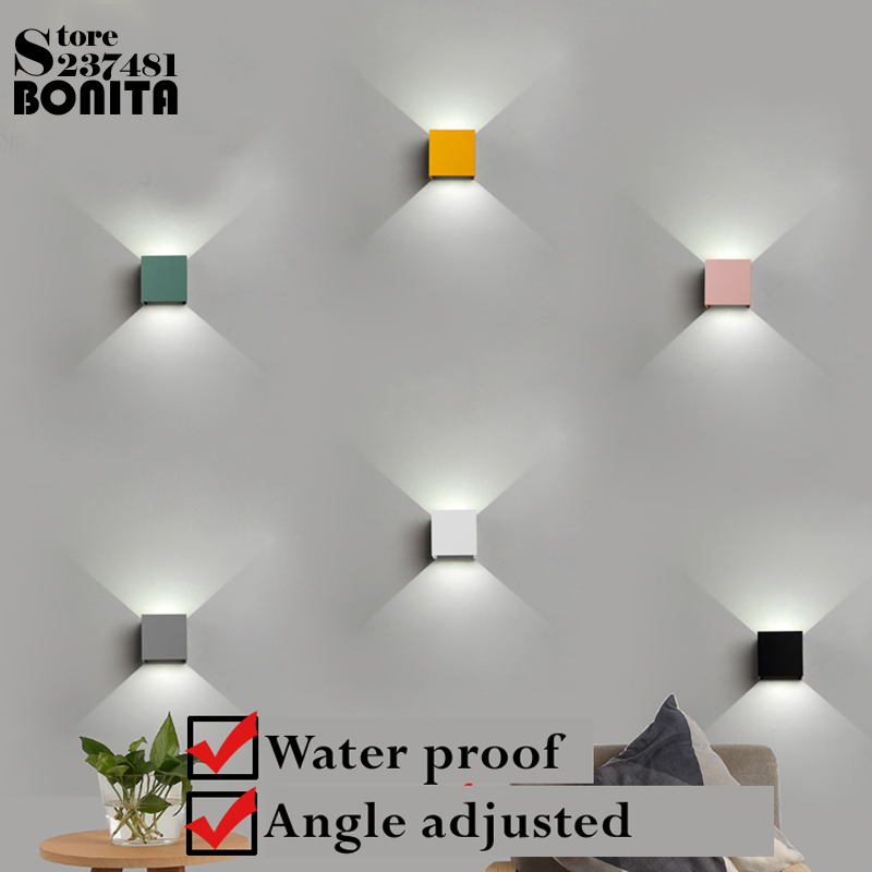 Modern Indoor Outdoor Waterproof Sconces Wall Lamps Northern Europe Macaron Colorful Square Dimming Led Wall Lights For Home