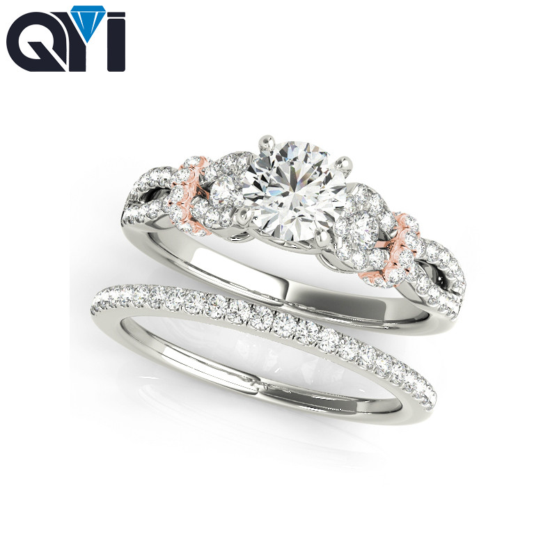QYI 0.75 Carat Simulated diamond Engagement Rings For Women Wedding Bands Jewelry 925 Sterling Silver Ring SetsQYI 0.75 Carat Simulated diamond Engagement Rings For Women Wedding Bands Jewelry 925 Sterling Silver Ring Sets