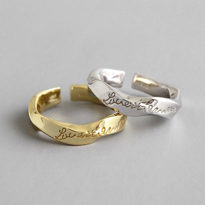 Kinel Women's Ring 2019 Sterling Silver Rings Irregular Twist Ring Silver 925 Open Finger Prevent Allergy Fine Jewelry