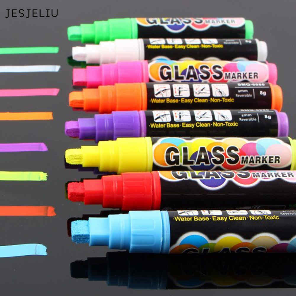 JESJELIU 8 Color Office Supplies 8mm Highlighter Neon Liquid Chalk Marker Pens for LED Writing Board Neon Effect Writing Pens 8 color suit highlighter chalk markers chalkboard erasable dustless water based non toxic liquid pens set