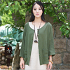 Women Blouses Summer Thin Coat Long Sleeve Women Shirts Open Stitch Solid Color Casual Outwear Loose