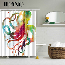 5A Grade Octopus Pattern Shower Curtain Waterproof Polyester Fabric Curtain For The Bathroom With 12PCS Hook Wholesale tree pattern shower curtain 1pc with hook 12pcs