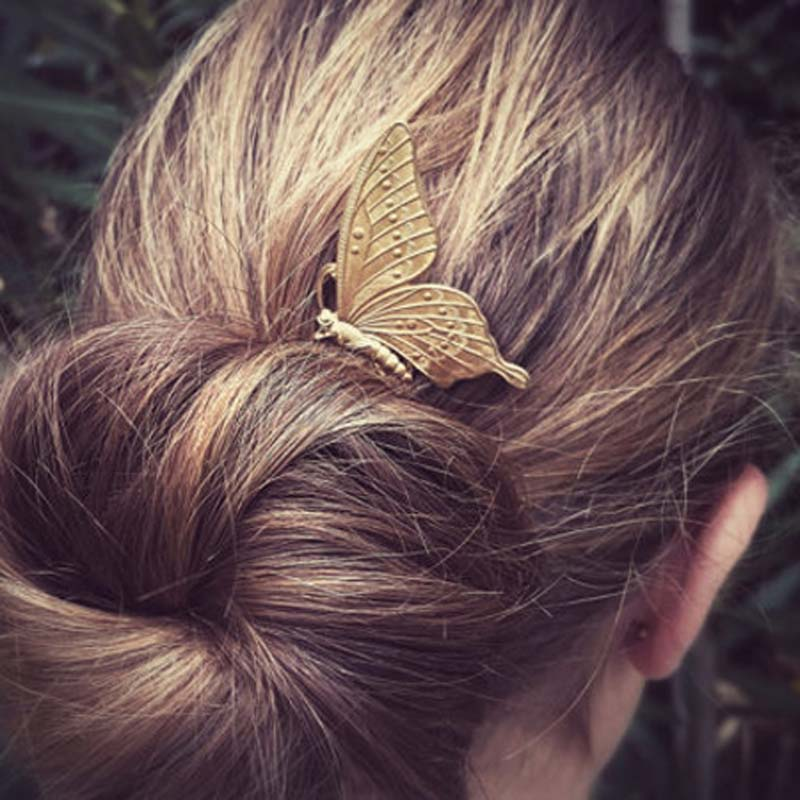 Retro Women Metal Butterfly Hair Combs Fashion Elegant Insect Shaped Hair Accessories In Hair