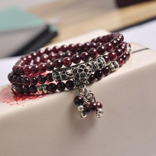Buddha Bead Tibetan Natural Red Garnet Stone Prayer Bead Mala Buddhist Bracelet 108 Pcs For Women Satement Jewelry in Bracelets Bangles from Jewelry Accessories