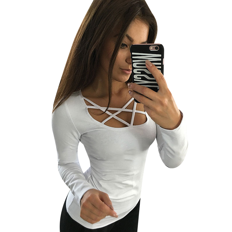 cheap women t shirt long sleeve hollow out spaghetti strap slim long sleeve tops tees bandage t. Black Bedroom Furniture Sets. Home Design Ideas