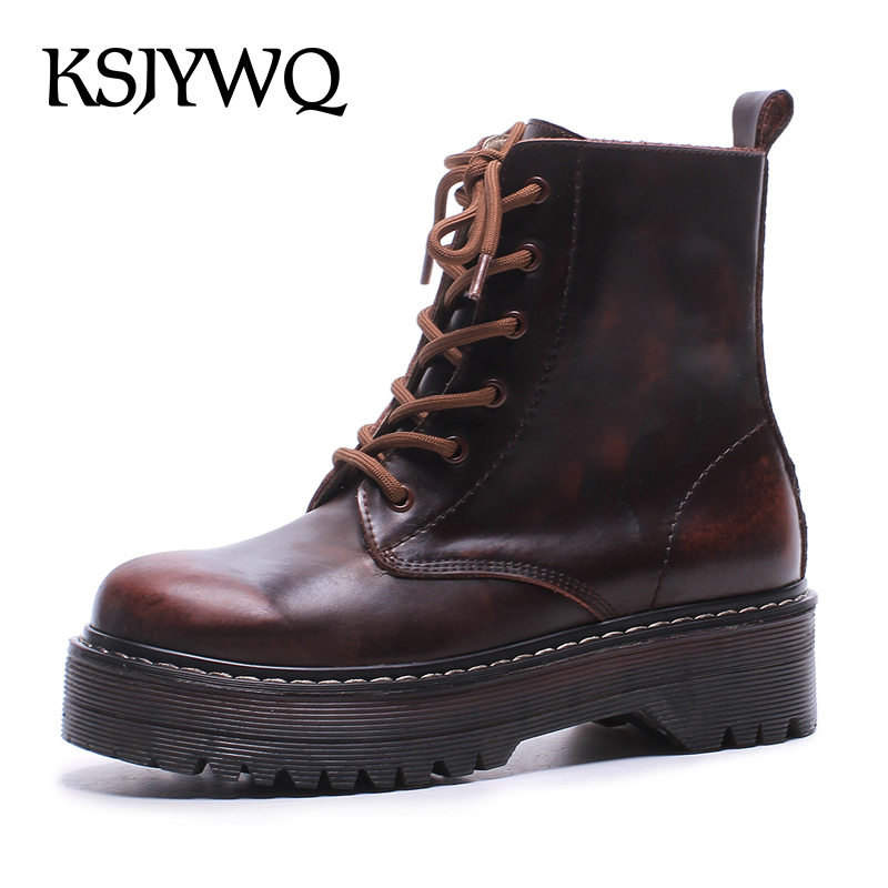 цены KSJYWQ NEW Women's Winter Ankle Boots Genuine Leather Lace-up Shoes 5 CM Thick Soles Platform Boot for Woman Box Packing 8888-1
