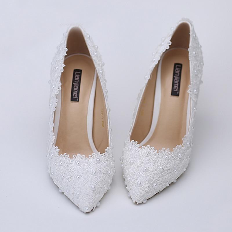 Сән Sexy White Lace Flower ақ қылқалам ілмекпен - Әйелдер аяқ-киімі - фото 3