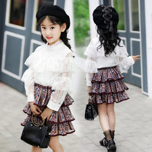 2019 Girl's spring Clothing Sets Baby Girls lace Chiffon long-sleeve shirt+ Pleated skirt 2pcs children kids clothing set 12 Y new 2015 baby girls skirt clothing sets children autumn fashion long sleeve jean shirt leopard skirt outfits 2pcs suit