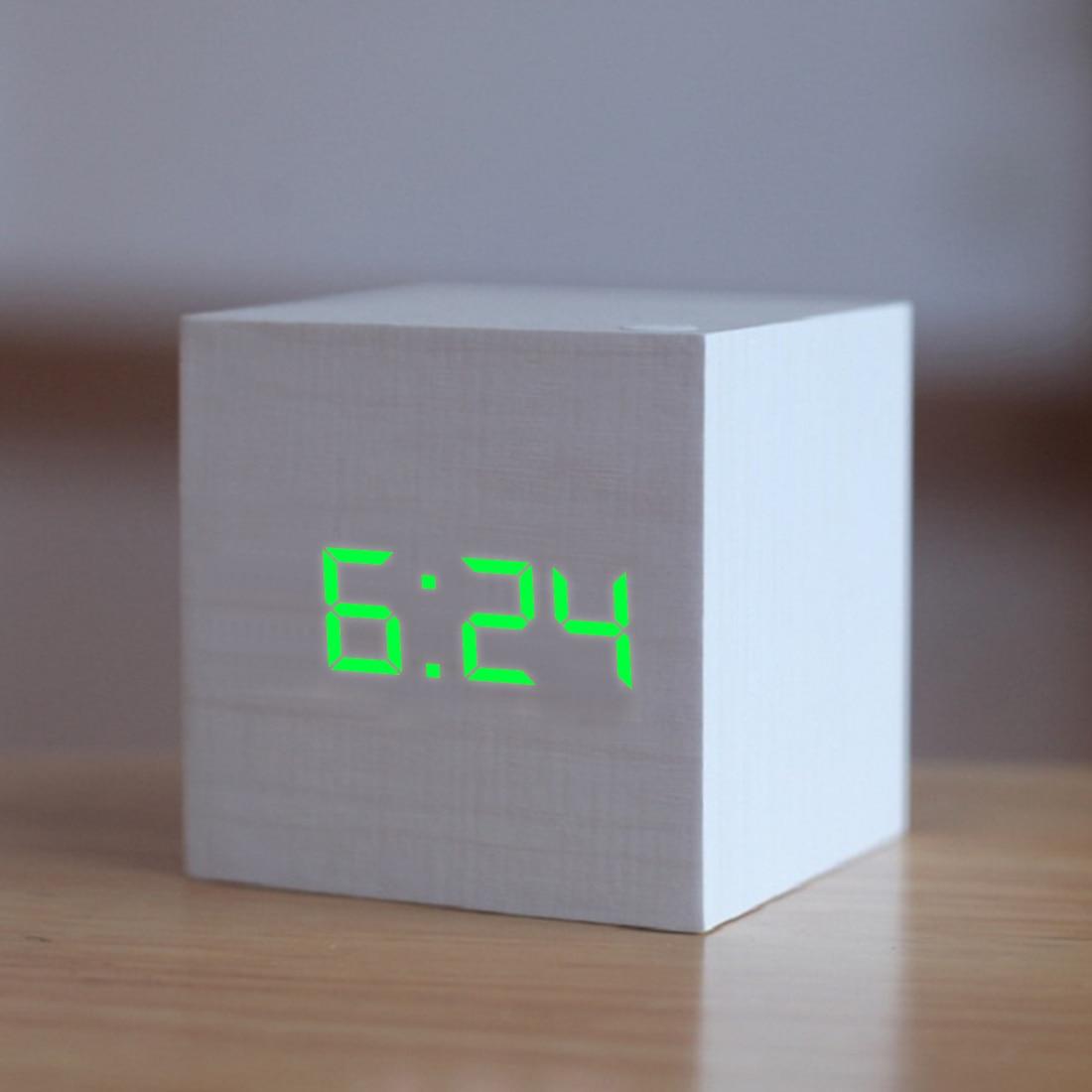 16 Choices Digital Wooden LED Alarm Clock Backlight Voice Control Wood  Retro Glow Clock Desktop Table Luminous Alarm Clocks